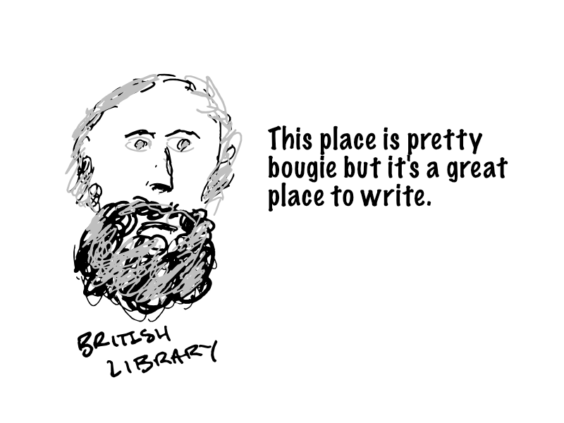 Karl Marx at the library